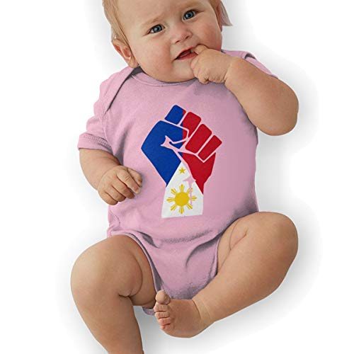 Philippines Flag Fist Classic Newborn Baby Boys Girls Cute Short-Sleeve Bodysuit Romper Outfits Pink]()