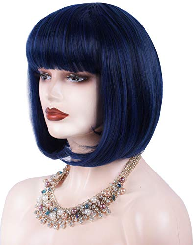 Navy Blue Short Bob Wigs for Women 12'' Heat Resistant Synthetic Straight Wigs with Bangs Cosplay Blue Wig Natural As Real Hair ()