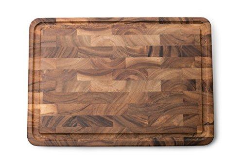 Ironwood Gourmet 28669 Charleston End Grain Board with Channel, Acacia Wood Ironwood Gourmet Acacia Wood