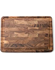Ironwood Gourmet 28669 Large End Grain Prep Board with Juice Channel, Acacia Wood