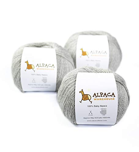 (100% Baby Alpaca Yarn Wool Set of 3 Skeins Lace Weight (Silver Gray))