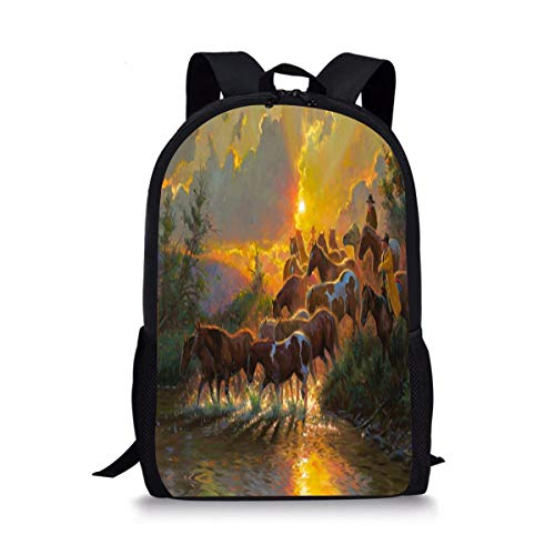 SKHGDbackbag Cowboys Wild Horses Sunrise Cool Printing Kid's Gift School Bag Backpack