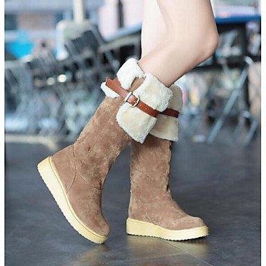 RTRY Zapatos De Mujer Cuero De Nubuck Nieve Del Invierno Botas Botas Botas De Moda Talón Plano Rodilla Botas Altas Para Casual Beige Marrón Negro US6.5-7 / EU37 / UK4.5-5 / CN37