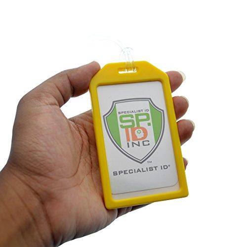 a4459cb09bb0 Yellow Rigid Plastic Luggage Tag Holder with 6