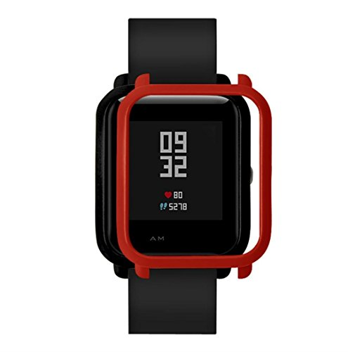 Ganenn Watch Protect Case, SUKEQ Slim Colorful Full Protective Bumper Case Cover for Xiaomi Huami Amazfit Bip Youth Watch (Red)