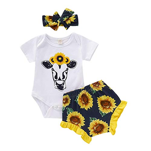 (Infant Girl Clothes Baby Girl Outfits Black Cow Print White Short Sleeve Romper Onesies + Yellow Sunflower Ruffled Short Pants Set + Sunflower Bow Headband Bodysuits Set 6-12)