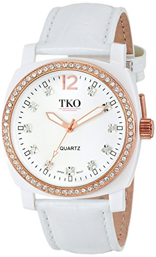 TKO ORLOGI Women's TK610-WT Milano Ice Leather Crystal Bezel (Milano Ice)