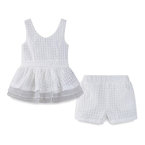 LittleSpring Toddler Girls Summer Outfit Plaid Sundress and Shorts Set White Size ()