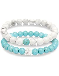8MM Cross Couples Bracelets Gemstone Bracelet for Women...