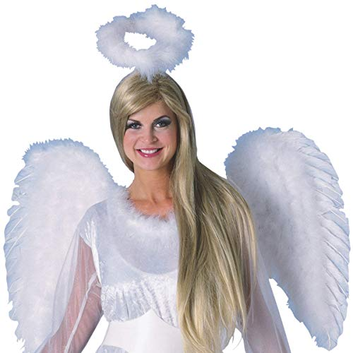 White Marabou Angel Halo Headband Halloween Costume Accessory