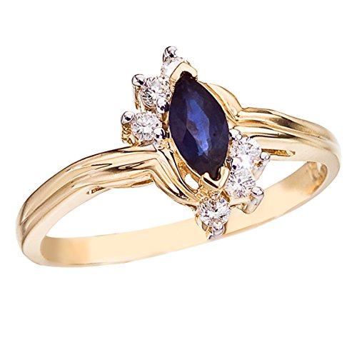 (0.25 Carat (ctw) 14k Yellow Gold Marquise Blue Sapphire and Diamond Accent Solitaire Bypass Promise Ring (6 x 3 MM) - Size 8)