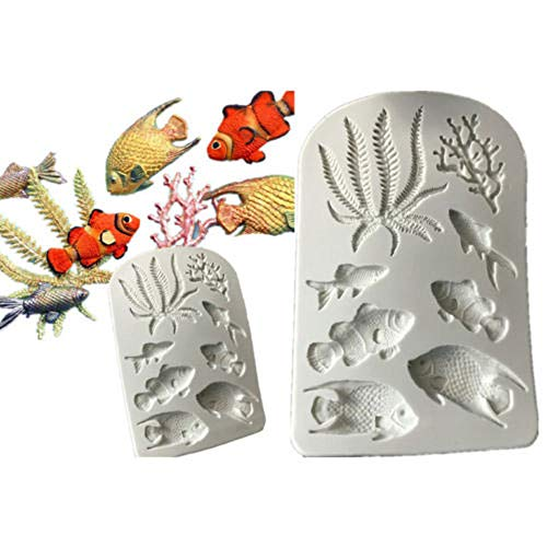 - Ocean Silicone Mold?Cupcake Sugar craft Fish Seaweed Fondant Baking Cake Decorating Tools