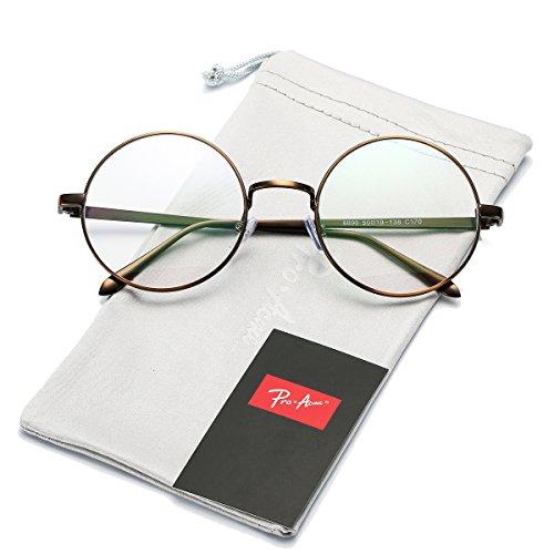 Pro Acme Retro Round Metal Frame Clear Lens Glasses Non-Prescription(Bronze Frame/Clear Lens)
