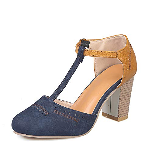Athlefit Women's T Strap Heels Two Tone Oxford Cut Out Mary Jane Retro Block Heel Pumps Size 7.5 Blue