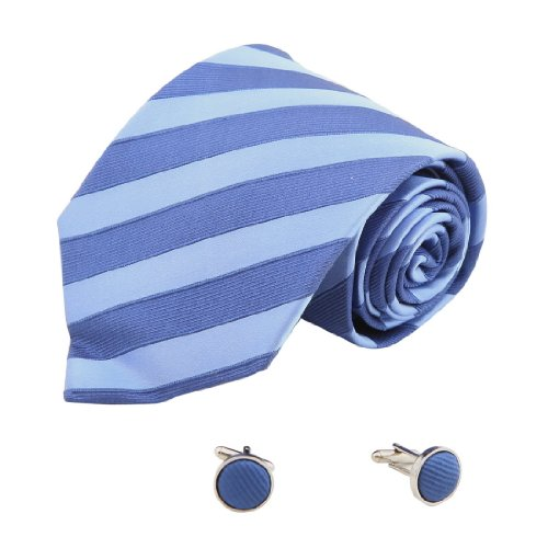8117 Navy Striped The Future Silk Ties Cufflinks Present Box Set By Y&G by Y&G
