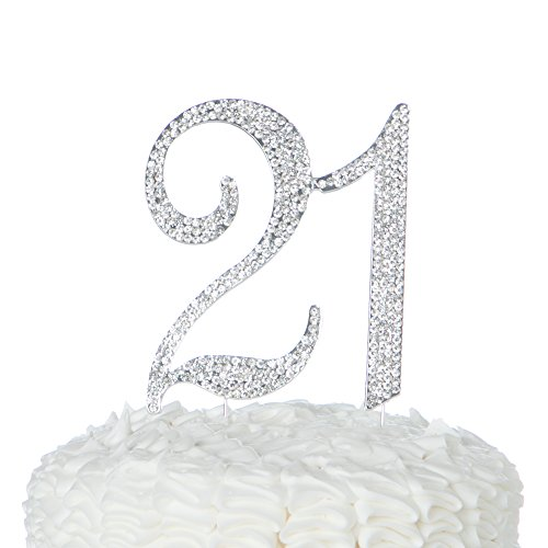 Ella Celebration 21 Cake Topper for 21st Birthday Party Supplies & Decoration Ideas (Silver)