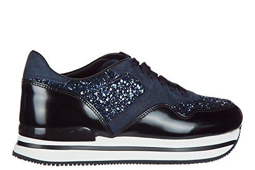 Hogan zapatos zapatillas de deporte mujer en ante nuevo h222 blu
