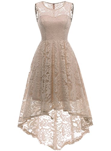 (MuaDress 6006 Women's Vintage Floral Lace Sleeveless Hi-Lo Cocktail Formal Swing Dress Champagne L)