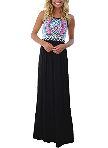 (Asvivid Women's Chevron Geometric Printed Tank Top Floor Length Tunic Maxi Dress Large Black1)