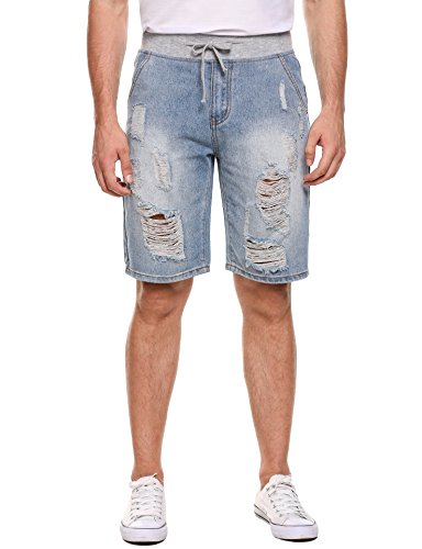COOFANDY Men Casual Knee Length Ripped Holes Distressed Denim Shorts