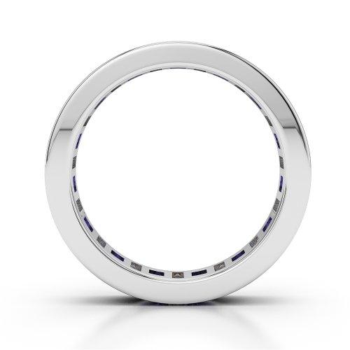 G-H/VS 1,35CT Coupe ronde sertie de diamants et tanzanite Full Eternity Bague en platine 950Agdr-1141