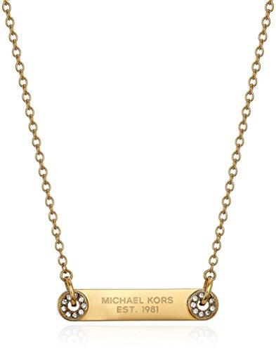 (Michael Kors Iconic Haute Hardware Gold-Tone and Pave Logo Grommet Pendant Necklace, 16