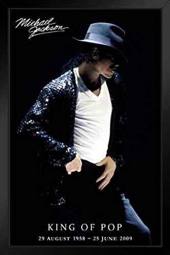 Pyramid America Michael Jackson King of Pop Memorial Dates Black Wood Framed Art Poster 14x20