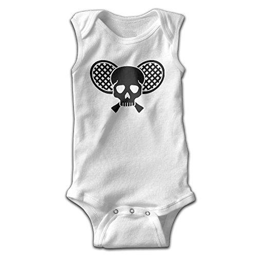 Hizhogqul Skull and Tennis Racquets Baby Sleeveless Romper Bodysuit Jumpsuit Newborn White