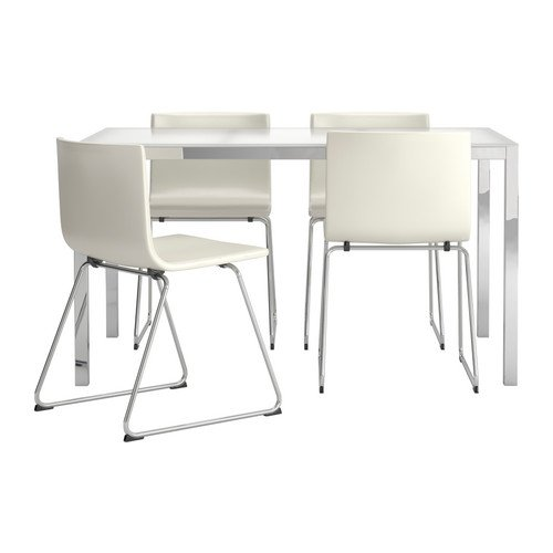 Ikea Table and 4 chairs, glass white, Kavat white 202018.29112.622