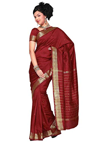 Sanskruti India Womens Indian Ethnic Traditional Banarasi Art Silk Saree Sari Wrap Fabric Dress Drape (Maroon)