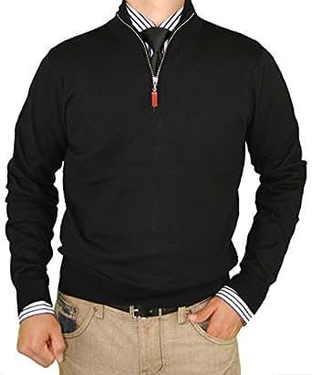 Luciano Natazzi Classic Fit Quarter Zip Mock Neck Sweater Cotton Cashmere Touch (Small, Black)