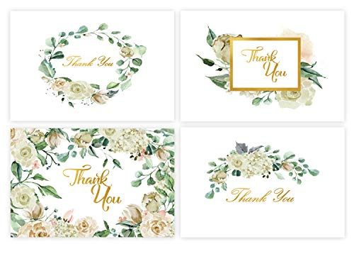 48 Thank You Cards Bulk w/Gold Foil Stickers & White Envelopes - 4x6 Blank Note Cards - Perfect for Weddings, Bridal Showers, Graduation, and Baby Showers ()