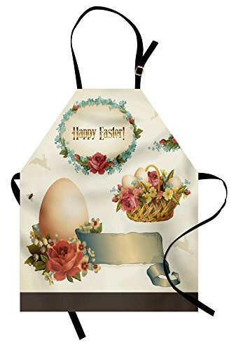 Ambesonne Easter Apron, Romantic Flower Filled Basket with Eggs Vintage Design Inspiration Nostalgic Pattern, Unisex Kitchen Bib with Adjustable Neck for Cooking Gardening, Adult Size, Beige - Easter Apron