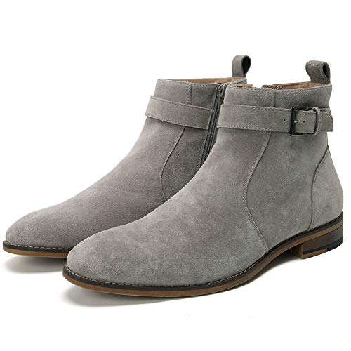 Cestfini Buckle Suede Chelsea Boots for Men Genuine Leather Dress Boots with Side-Zipper, Casual Waterproof Ankle Boots Genuine Leather Dress Boots with Side-Zipper, Casual Waterproof Ankle Boots