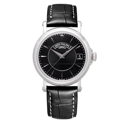 Patek Philippe Calatrava Black Dial 18k White Gold Black Leather Mens Watch 5153G-001