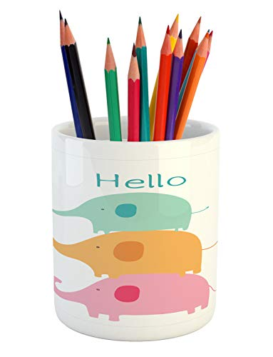 Ambesonne Elephant Pencil Pen Holder, Baby Stacked Elephants with Hello Calligraphy, Printed Ceramic Pencil Pen Holder for Desk Office Accessory, Almond Green Pale Orange Pale Pink Teal