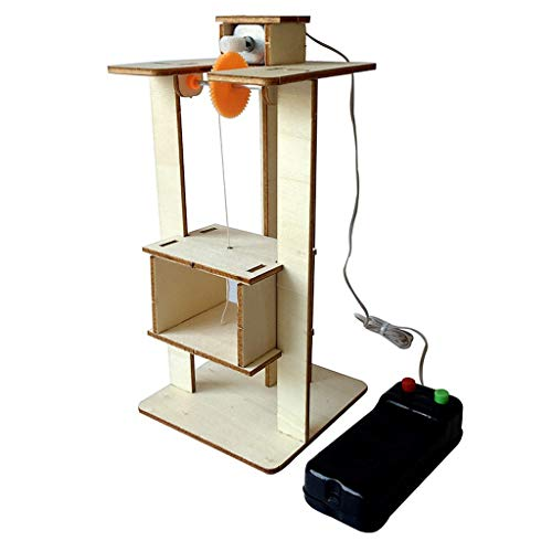 DIY Elevator Toy,Remote Control Physical Equipment Crane Lifts Elevator Model,Education Technology Small Production STEM Assembling Science Experiment Kit -