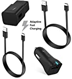 Galaxy S9/Galaxy S8/Note 8/Fast Charger Type-C 2.0 Cable Kit by Ixir Compatible with Samsung Product- (Car Charger + Wall Charger + 2 Type-C Cable) Fast Charging for up to 50% faster charging!