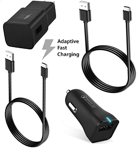 Galaxy S9 / Galaxy S8 / Note 8 / Fast Charger Type-C 2.0 Cable Kit by Ixir Compatible with Samsung Product- ( Car Charger + Wall Charger + 2 Type-C Cable ) Fast Charging for up to 50% faster charging! Cable Car Ac Wall