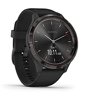 Garmin vivomove 3 Hybrid Smartwatch with Real Watch Hands and Hidden Touchscreen Display, Black Silicone with Slate…