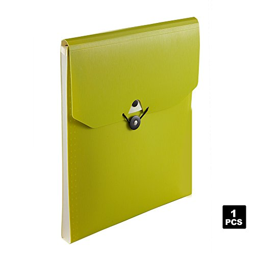 Comix Expanding File Folder, 5-Pocket Vertical Expandable File Folder Green Color (Vertical Dividers)