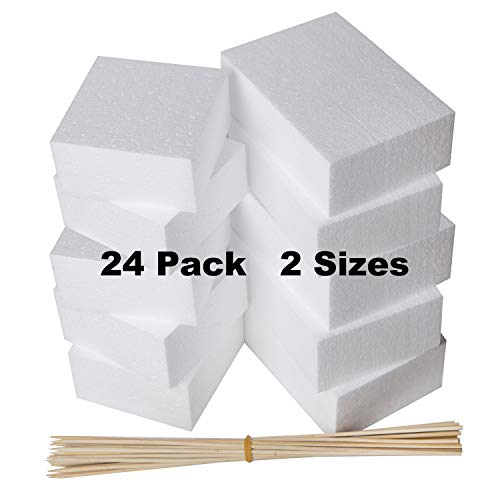 24 Pack Foam Blocks - Styrofoam Square Blocks, Rectangle Blocks - Floral Foam - Craft Foam- For Crafting, Modeling, Sculpture, DIY Arts And Crafts, Flower foam - 2 Sizes 6 x 4 x 2 and 4 x 4 x 2 inches from Bargain Paradise