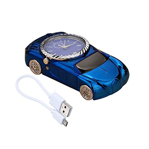 (Creative Roadster Cigarette Arc Lighter Sports Car Plasma Lighter USB Electronic Torch Lighter with Watch Christmas Gift for Men (Blue))