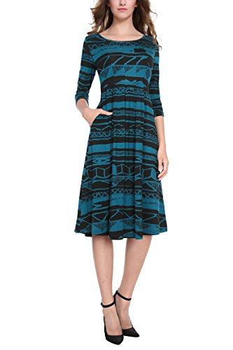 Baishenggt Manches 3/4 Poches À Plis Évasés Robe Midi Imprimé Bleu Des Femmes