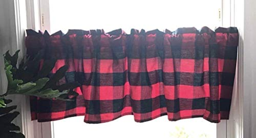 Red and Black Buffalo Check Lumberjack Curtain Valance, Carolina Gingham Anderson Check, Approximate size is 52
