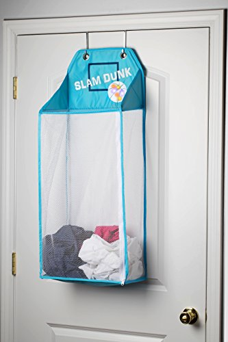 Kid Laundry (Store & Score Over The Door Hanging Kids Fun LED Basketball Light-Up Collapsible Mesh Laundry Hamper Basket, Toy Chest, Heavy Duty Metal Hooks Included. Patent Pending)