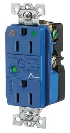 Hubbell Wiring Systems IG8262SA Spike Shield Circuit Guard Hospital Grade Isolated Ground Surge Suppression Duplex Receptacle with Light and Alarm, 125V AC, 60Hz, 15A, 2 Pole, 3 Wire, (Nec Visual Systems)