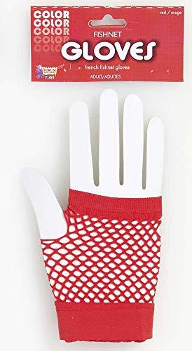 Fingerless Short Red Fishnet Costume Gloves