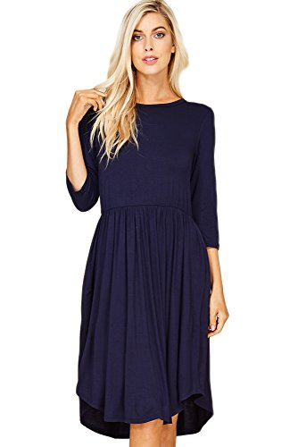 3 Waist Neck Navy Dress Scoop Empire High Annabelle Sleeve Side With Pockets Women's 4 n8Txt4