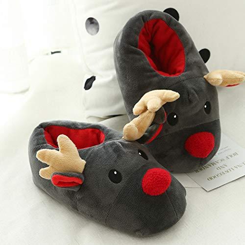 Slip Casuale Pantofole Cervi Stivali Indoor Cotone Warm Design Natale Donna on Scarpe Cute Grigio Di Dei Comfort Unisex In 5Yww704q